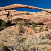 Landscape Arch (widest arch) in Arches National Park in Utah.