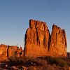 Sunrise on The Organ Rock formation in Arches National Park in Utah.