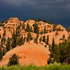 Light before storm on Red Rock Canyon in Dixie National Forest in Utah. This canyon is just a few miles from the entrance to Bryce Canyon National Park, and so is often ignored or bypassed on the way to the better known tourist attraction. However, this canyon displays some of the reddest rock anywhere in Utah, with amazing formations though on a smaller scale. As part of a national forest, it is and interesting and photogenice place to hike and enjoy Utah's wonders.