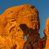 Parade of Elephants sandstone rock formations at sunrise in Arches National Park in Utah.