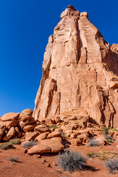 Early morning light on Park Avenue rock formations in Arches National Park in Utah.