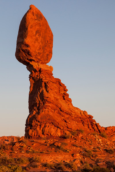 Balanced Rock formation at sunset in Arches National Park in Utah.