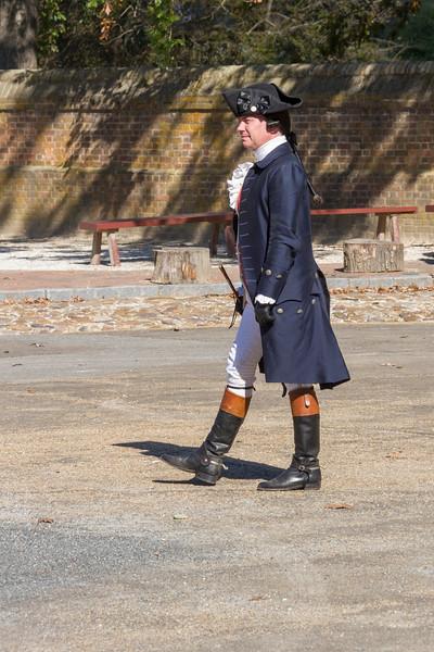 Re-enactment drama of revolutionary debate in Colonial Williamsburg historic district.