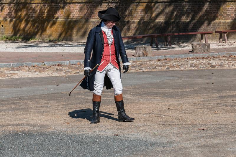 Re-enactment drama of revolutionary war debate in Colonial Williamsburg in Virginia.