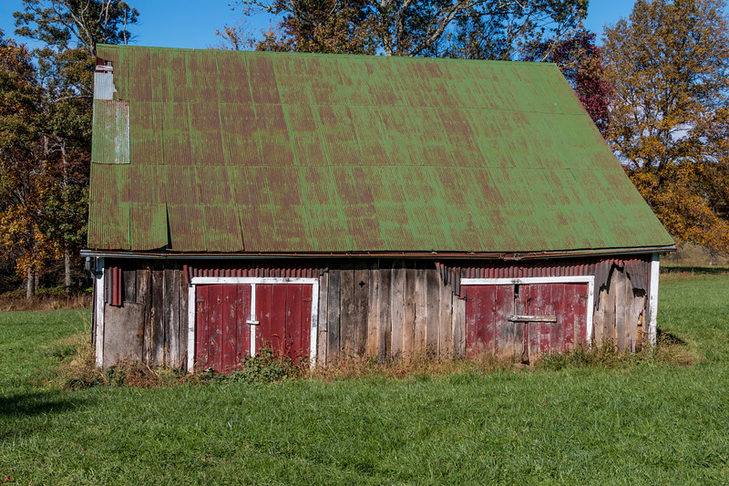 Barn with red doors on Blue Ridge Parkway in Virginia.