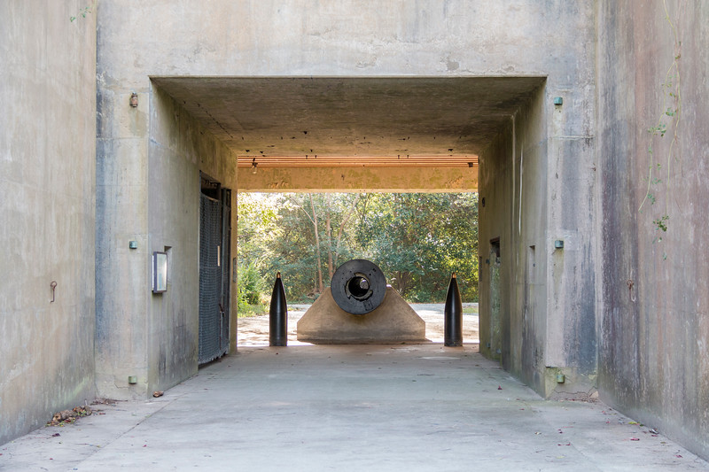 16 inch gun in Winslow Battery, once a part of Fort Custis, but now preserved in the Eastern Shore of Virginia NWR.