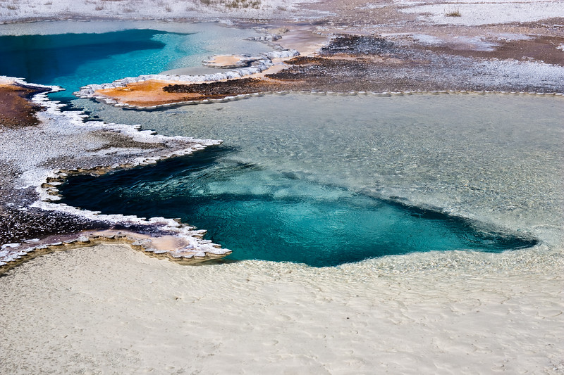 Hot Springs in Upper Geyser Basin in Yellowstone National Park in Wyoming.