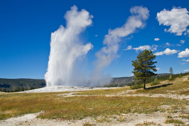 Old Faithful is a cone geyser located in Wyoming, in Yellowstone National Park in the United States. Old Faithful was named in 1870 during the Washburn-Langford-Doane Expedition and was the first geyser in the park to receive a name.