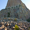 Fallen Rocks at the base of Devil's Tower National Monument in Wyoming. VIewed from path around fallen rock bed of monument. Early morning light.