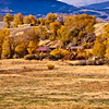 Autumn color along scenic highway US 287 through rural ranching country in the hills and mountains of central Wyoming.