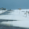 Ice and snow on scenic drive through Medicine Bow National Forest in southern Wyoming.