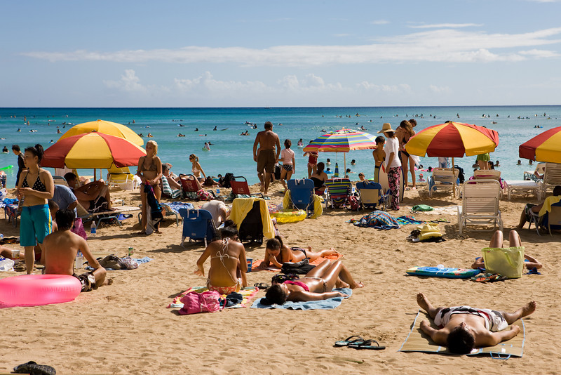 A really crowded beach