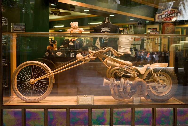Wooden model of a Harley Davidson