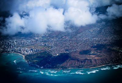 Aerial view of Waikiki and Diamond Head Crater
