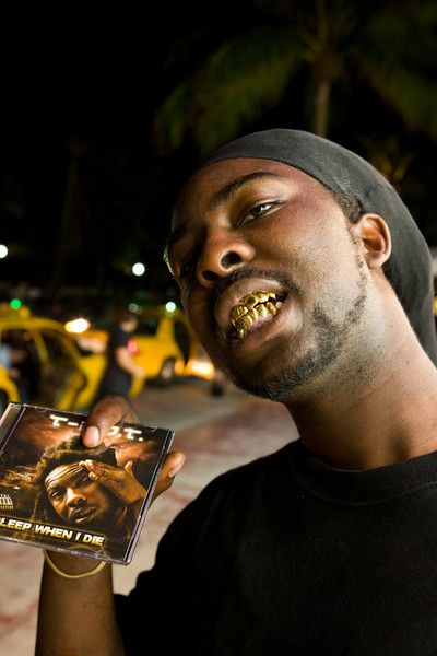 "Rapper T-D.O.T.  with his album ""Sleep when I die"""