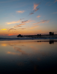 Sunset reflected on the Oceanside Pier