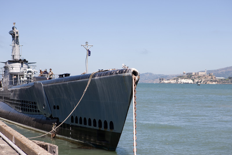 submarine USS Pampanito and the island of Alcatraz