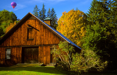 Old Wooden Barn and Fall Foliage
