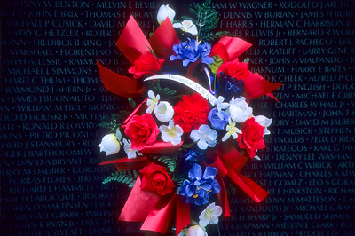 Wreath on the Vietnam Memorial