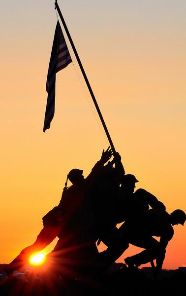 United States Marines Iwo Jima War Memorial at Sunrise
