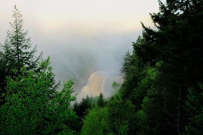 Early morning shot of Blackwater Falls through the mist from the Gentle Trail