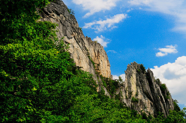 View of Seneca Rocks after hiking a little more than half way up the trail