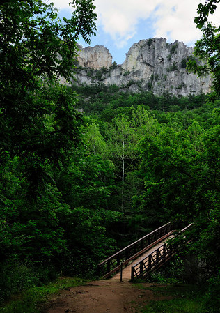Seneca Rocks - Bridge to the Hiking Trail to the Observation area. It's a 1.3 mile hike with about a 1000 foot rise in elevation.