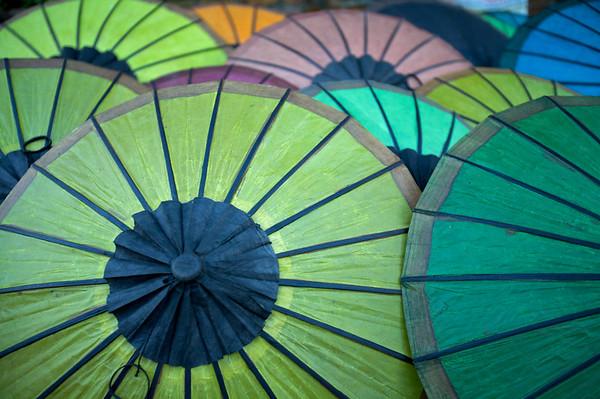 Umbrellas at the market, Laos.