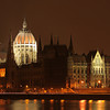 The parliament in Budapest, Hungary at night