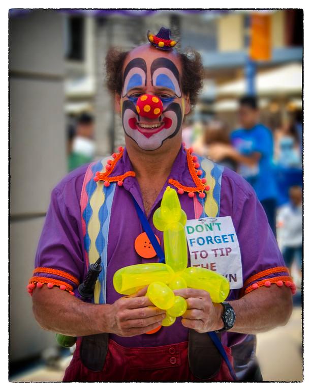 Clown Tipping, Farmer's Market, Long Beach, CA