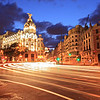 Gran via street in Madrid, Spain at night