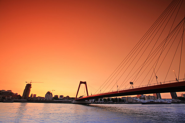 Willemsbridge in Rotterdam at sunset