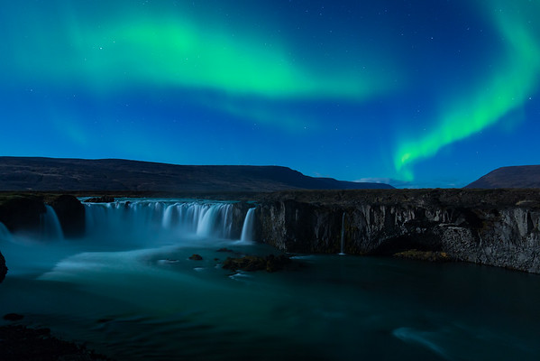 Northern Lights over Goðafoss - Iceland