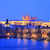 Prague castle and Charles bridge in winter, Prague, Czech Republic