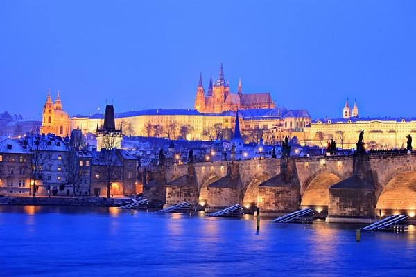 Prague castle and Charles bridge in winter, Prague, Czech Republic