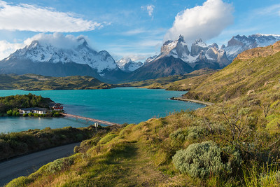 Hosteria Pehoe, Lago Pehoé and Cordillera del Paine