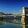 Chain bridge ( Szechenyi Lanchid ) on Danube river, Budapest, Hungary at daytime
