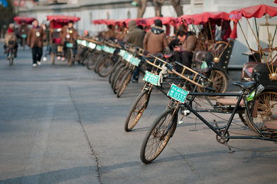 Beijing | China Bicycles for transportation of locals and tourists inside the Hutongs (narrow streets, alleys).