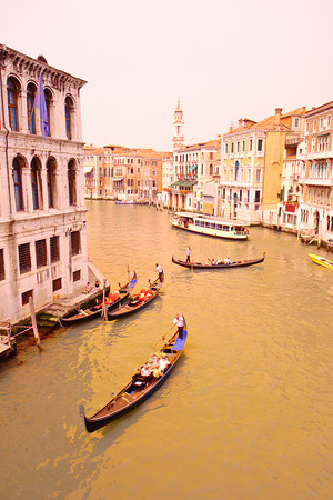 Scene from Venice, Italy viewed from Rialto bridge