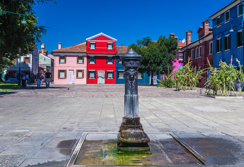 Drinking Fountain in a square on the Island of Burano, Venice, Italy