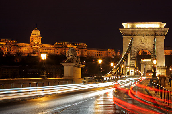 Traffic at Chain bridge, Budapest, Hungary at night