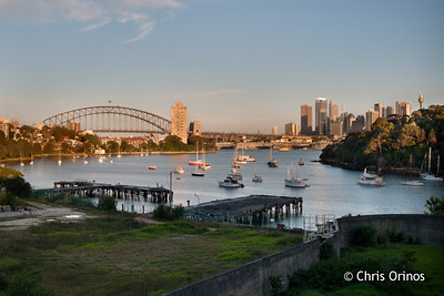 Sydney | Australia Old rotten wharfs leading the sight to the modern CBD