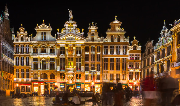 Sitting In Grand Place at Night