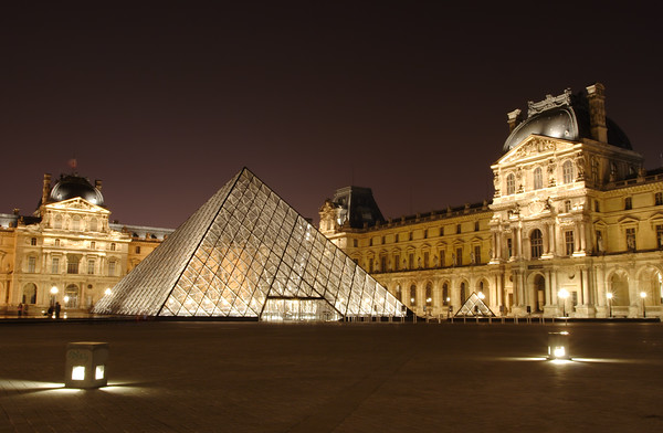 Louvre museum (Musee du Louvre) at night, Paris, France