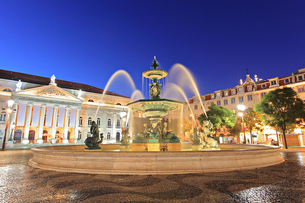 Fountain at Rossio square, Lisbon, Portugal