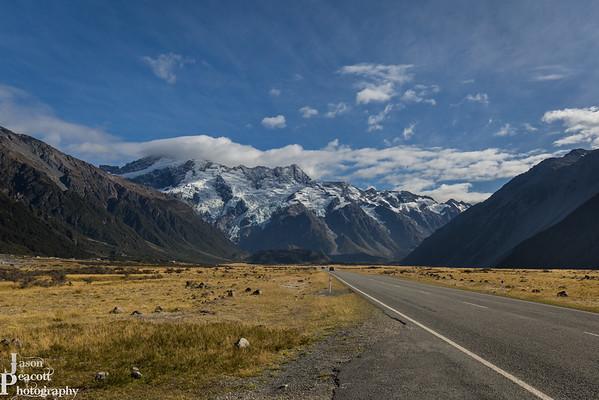 Driving towards Mount Cook