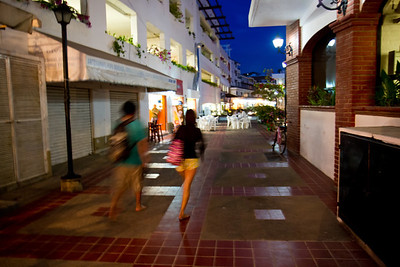 Shoppers at dusk, Puerto Vallarta, Mexico, 2011
