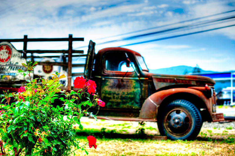 California Wine Country with old Chevy