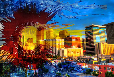LoDo with Colorado Flag Mixed Media by Colorado Art Designs