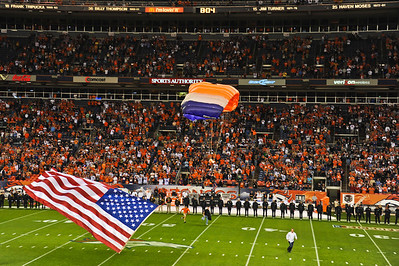 Broncos parachuters with American Flag